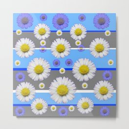 DECORATIVE BLUE MODERN ART WHITE SHASTA DAISIES Metal Print