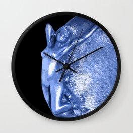 Art Nouveau blue Nymph. Wall Clock