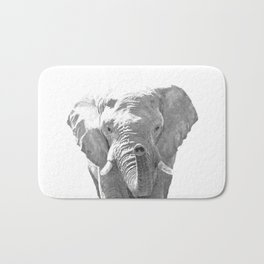 Black and white elephant illustration Bath Mat