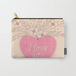 pink heart with flowers Carry-All Pouch