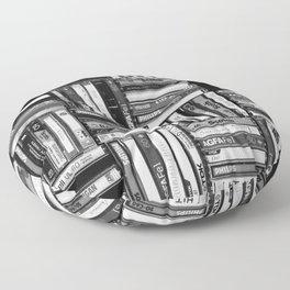 Music Cassette Stacks - Black and White - Something Nostalgic IV #decor #society6 #buyart Floor Pillow