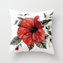 Blooming Red Hibiscus Throw Pillow