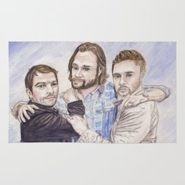 Team Free Will: Misha Collins; Jared Padalecki and Jensen Ackles, watercolor painting Rug