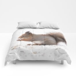 Squirrel And Lunch Pause Winter Scene #decor #society6 #buyart Comforters
