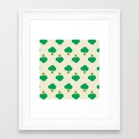 vegetable Framed Art Prints featuring VEGETABLE-BROCCOLI! by Claudia Ramos Designs