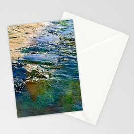 Colored sea waves licking the rock Stationery Cards