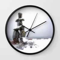 vancouver Wall Clocks featuring Inukshuk, Vancouver by Gizem Soker Baturay