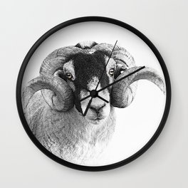Black and which moorland sheep Wall Clock