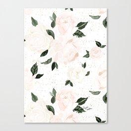 vintage blush floral Canvas Print