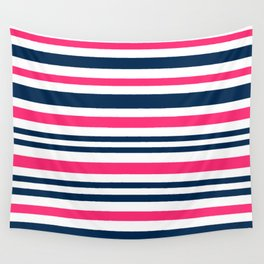 Horizontal , striped , pink , blue , white Wall Tapestry