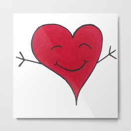 Happy Red Heart Hug Cartoon Metal Print