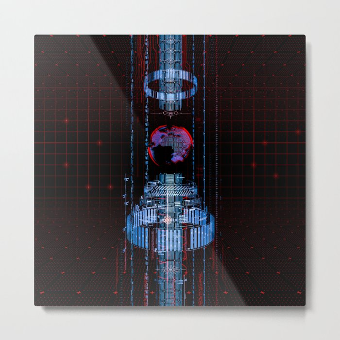Virtual Data Earth Metal Print