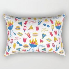 Summer BBQ Pattern - Blue Red Yellow Rectangular Pillow