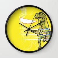 t rex Wall Clocks featuring T-Rex by Mr Patch