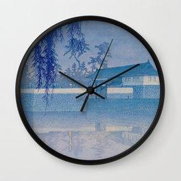 Kawase Hasui Sakurada Gate in Tokyo; Rare Blue Version 1928 Japanese Woodblock Print Wall Clock