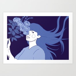 Flowers in her head Art Print
