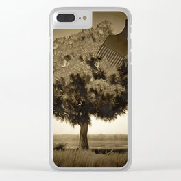 Tree and comb Clear iPhone Case