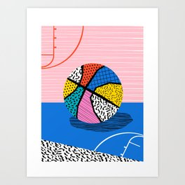 Dish - memphis art print, basketball art print, sports art print, 80s art prints, retro art Art Print