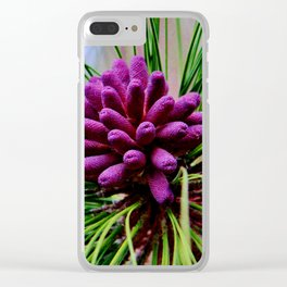 Purple Pine Cones Clear iPhone Case