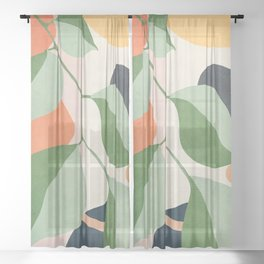 Colorful Branching Out 24 Sheer Curtain