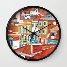 Lisbon buildings Wall Clock