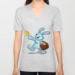 rabbit with Easter basket Unisex V-Neck