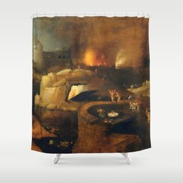 Descent Into Hell, Left Side, By Follower Of Hieronymus Bosch, Circa 1550 Shower Curtain