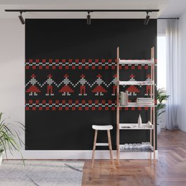 Traditional Hora people cross-stitch row black Wall Mural
