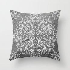 Mandala Vintage White on Ocean Fog Gray Throw Pillow