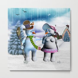 Funny, cute snowman and snow women Metal Print
