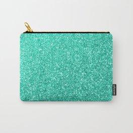 Aquamarine Aqua Blue Sparkly Glitter Carry-All Pouch