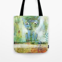 fishing Tote Bags featuring fishing by Agnes Laczo