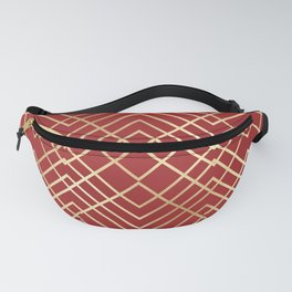 Modern Chinese Red Art Deco Geometric Pattern Fanny Pack