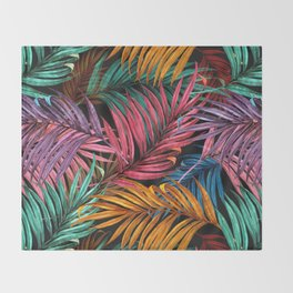Colorful Palm Leaves Throw Blanket