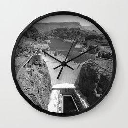 Black and White Hoover Dam - Nevada/Arizona Wall Clock