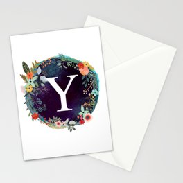 Personalized Monogram Initial Letter Y Floral Wreath Artwork Stationery Cards