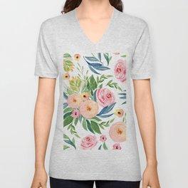 Elegant Roses Coral Pink + Green Unisex V-Neck