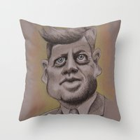 jfk Throw Pillows featuring JFK by chadizms