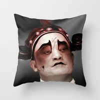 actor Throw Pillows featuring Chinese opera (Actor Portrait). by Ian Gledhill