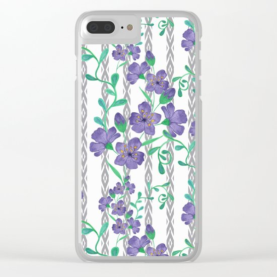 Flowers on a striped background. Clear iPhone Case