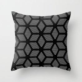 Geometric Line Lines Diamond Shape Tribal Ethnic Pattern Simple Simplistic Minimal Black and White Throw Pillow