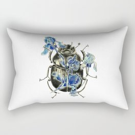 Beetle in blue irises Rectangular Pillow