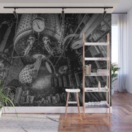 The Paddle Steamer Fireman (black & white) Wall Mural