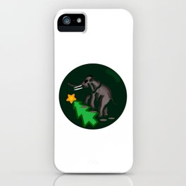 Elephant Steps Over Christmas tree iPhone Case