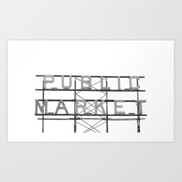 Pike Place Public Farmers Market - Black and White Art Print