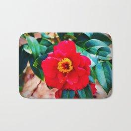 Rich Red Camellia Bath Mat