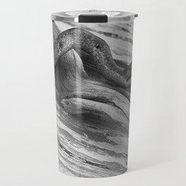 weathered driftwood black and white Travel Mug