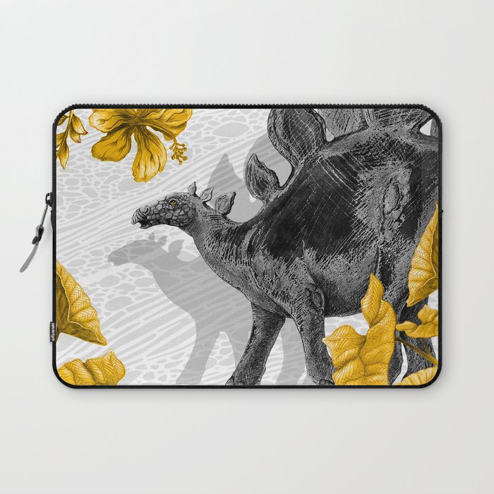 Jurassic Stegosaurus: Gold & Gray Laptop Sleeve