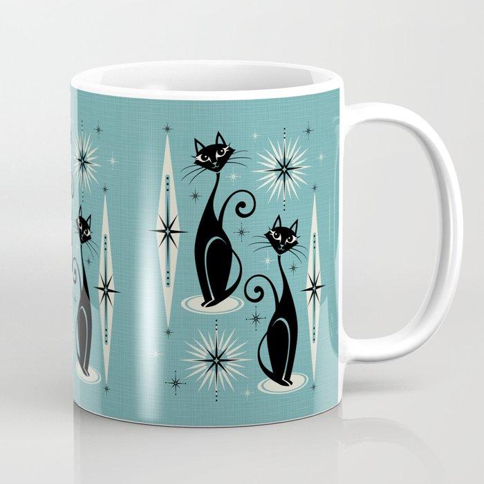 Mid Century Meow Retro Atomic Cats on Blue Coffee Mug