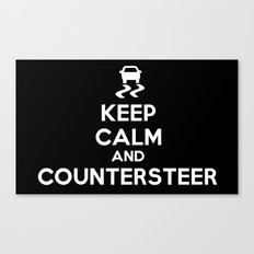 Keep Calm and Countersteer - White Text Canvas Print